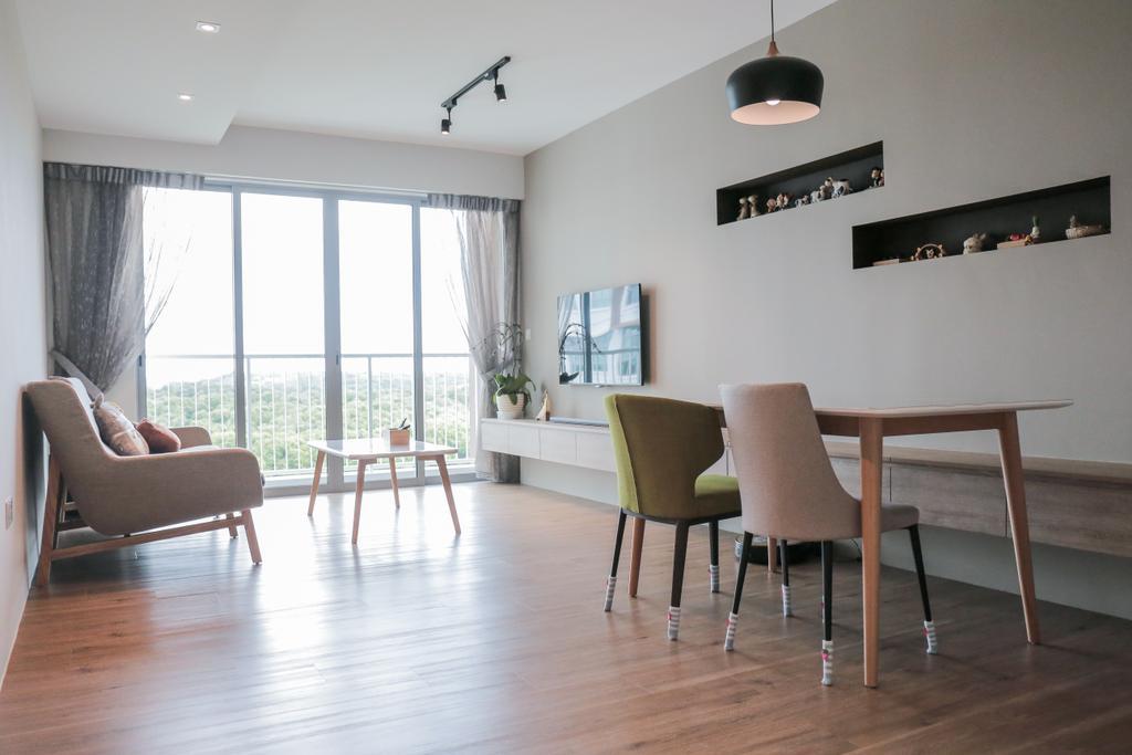 Minimalistic, HDB, Living Room, Upper Serangoon View (Block 477B), Interior Designer, Forefront Interior, Dining Table, Furniture, Table, Chair, Dining Room, Indoors, Interior Design, Room, Hardwood, Wood