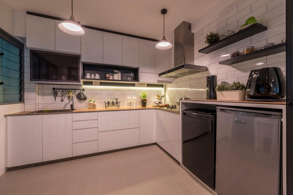 Modern, HDB, Kitchen, Punggol Way, Interior Designer, Meter Square