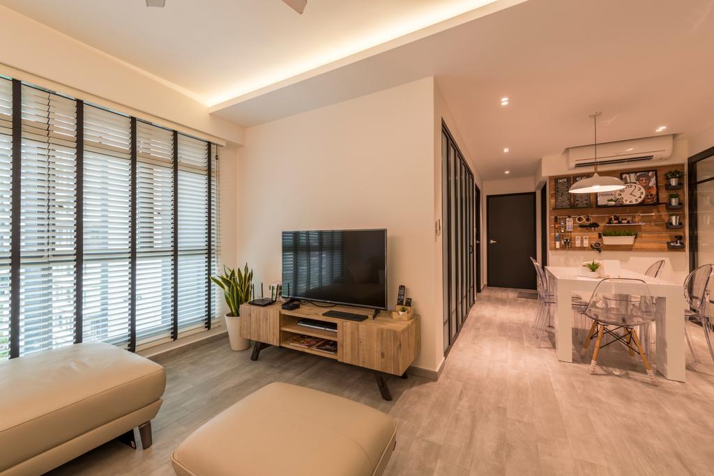 Modern, HDB, Living Room, Punggol Way, Interior Designer, Meter Square