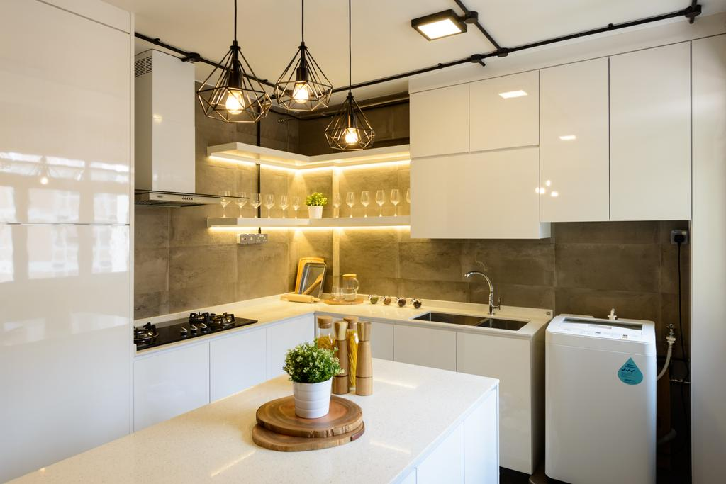 Scandinavian, HDB, Kitchen, Pasir Ris (Block 554), Interior Designer, Kome Interior, Industrial, Appliance, Electrical Device, Washer, Indoors, Interior Design, Chandelier, Lamp, Flora, Jar, Plant, Potted Plant, Pottery, Vase, Lighting