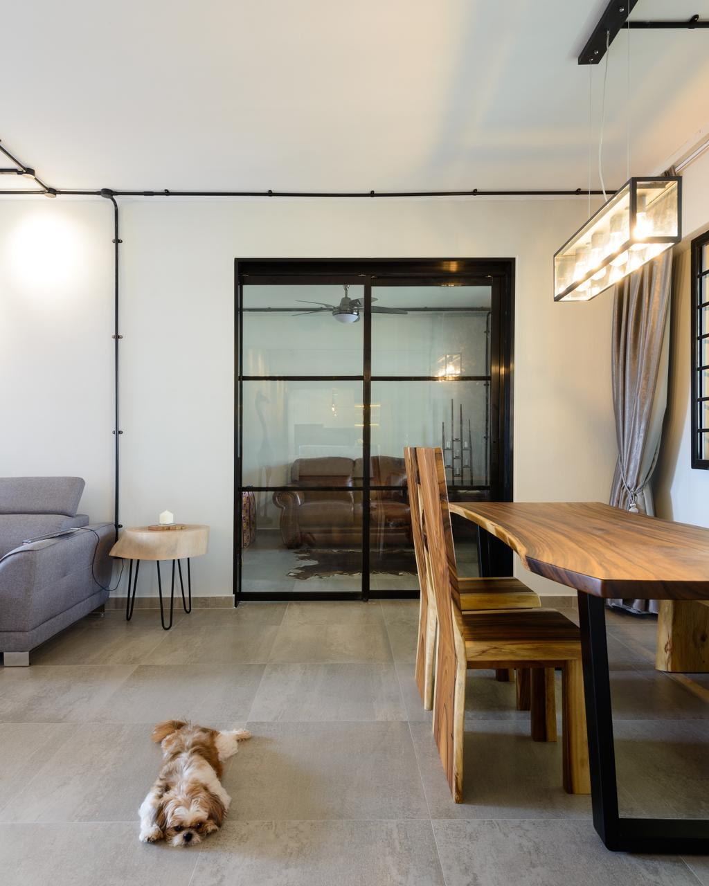 Scandinavian, HDB, Dining Room, Pasir Ris (Block 554), Interior Designer, Kome Interior, Industrial, Couch, Furniture, Chair, Indoors, Interior Design, Room, Dining Table, Table