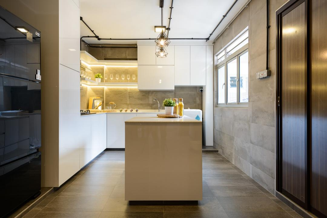 Pasir Ris (Block 554), Kome Interior, Scandinavian, Industrial, Kitchen, HDB, Elevator, Indoors, Interior Design