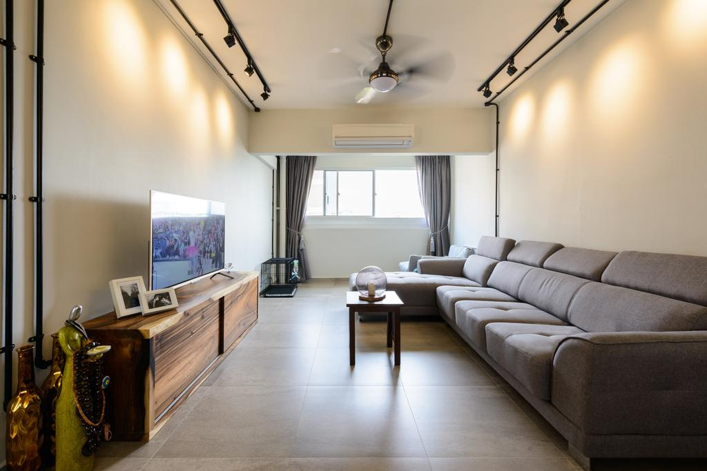Scandinavian, HDB, Living Room, Pasir Ris (Block 554), Interior Designer, Kome Interior, Industrial, Couch, Furniture, Indoors, Room