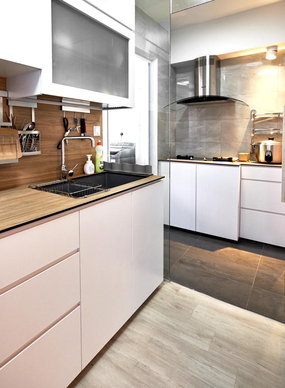 Scandinavian, HDB, Kitchen, Clementi Avenue 4, Interior Designer, Lemonfridge Studio, Minimalistic, Indoors, Interior Design, Room, Sink