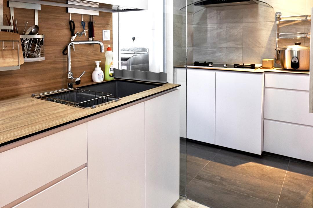 Clementi Avenue 4, Lemonfridge Studio, Scandinavian, Minimalistic, Kitchen, HDB, Indoors, Interior Design, Room, Sink