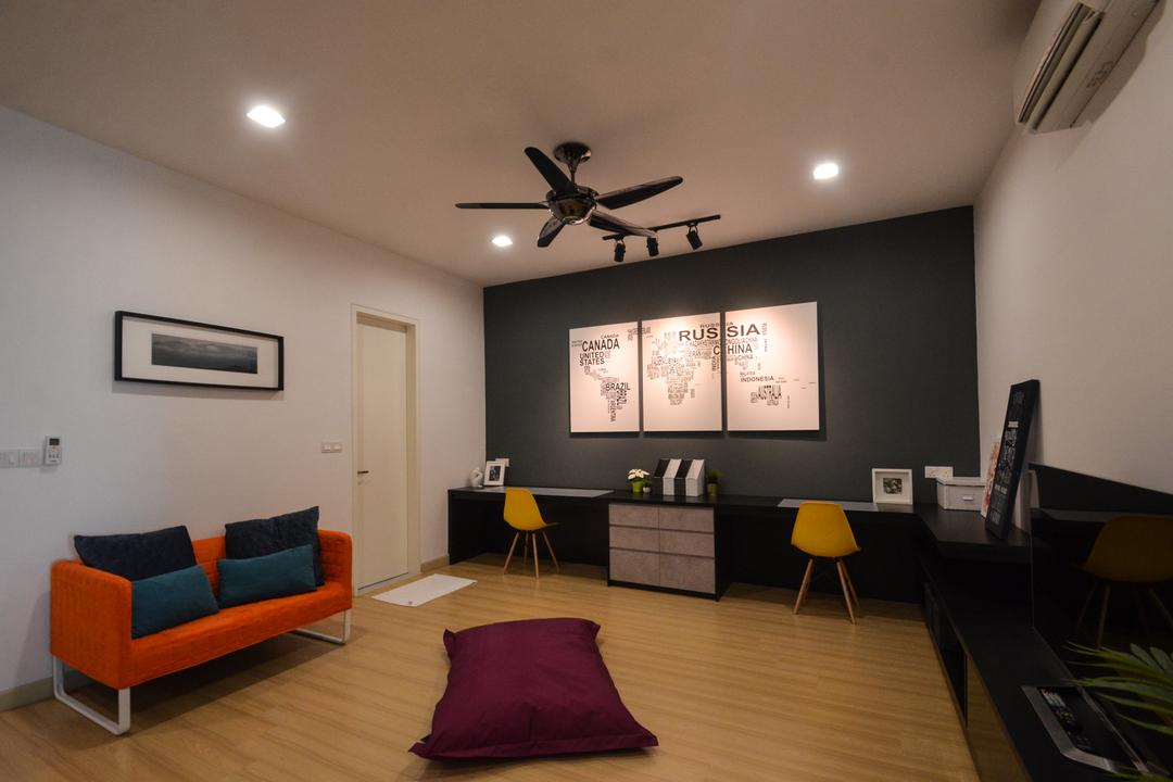 X2 Residence, Puchong, Zyon Studio Sdn. Bhd., Modern, Study, Condo, Book, Indoors, Room, Couch, Furniture