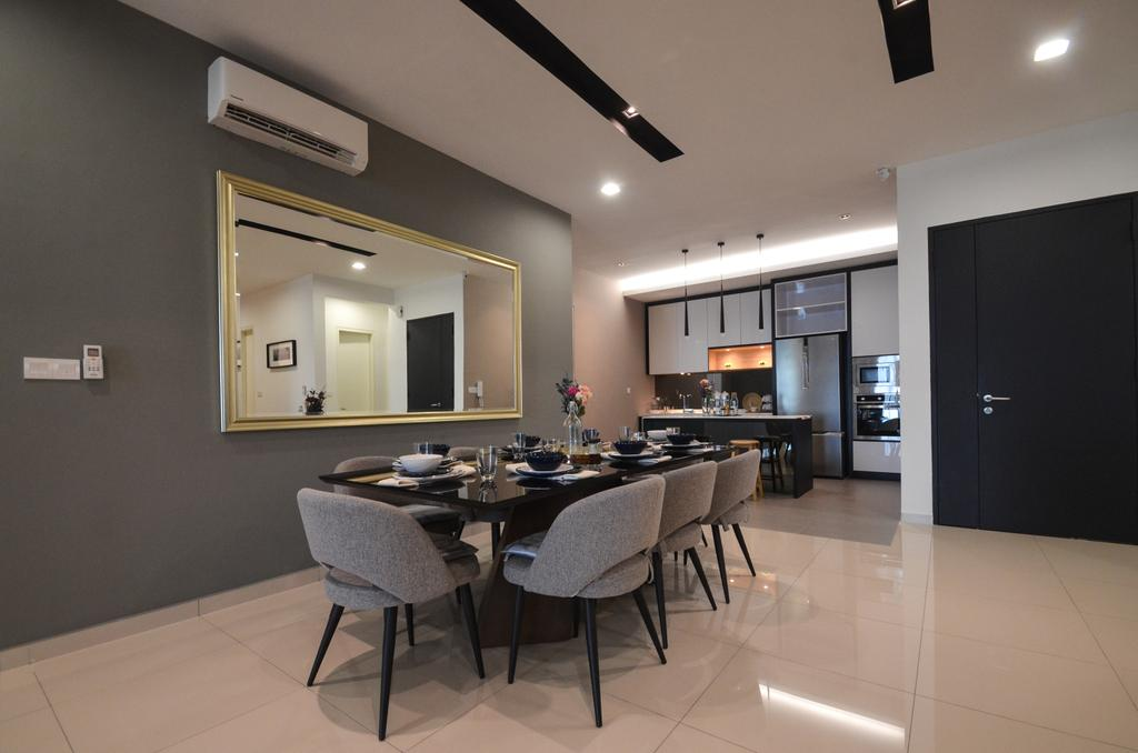 Modern, Condo, Dining Room, X2 Residence, Puchong, Interior Designer, Zyon Studio Sdn. Bhd., Dining Table, Furniture, Table, Indoors, Interior Design, Room, Chair