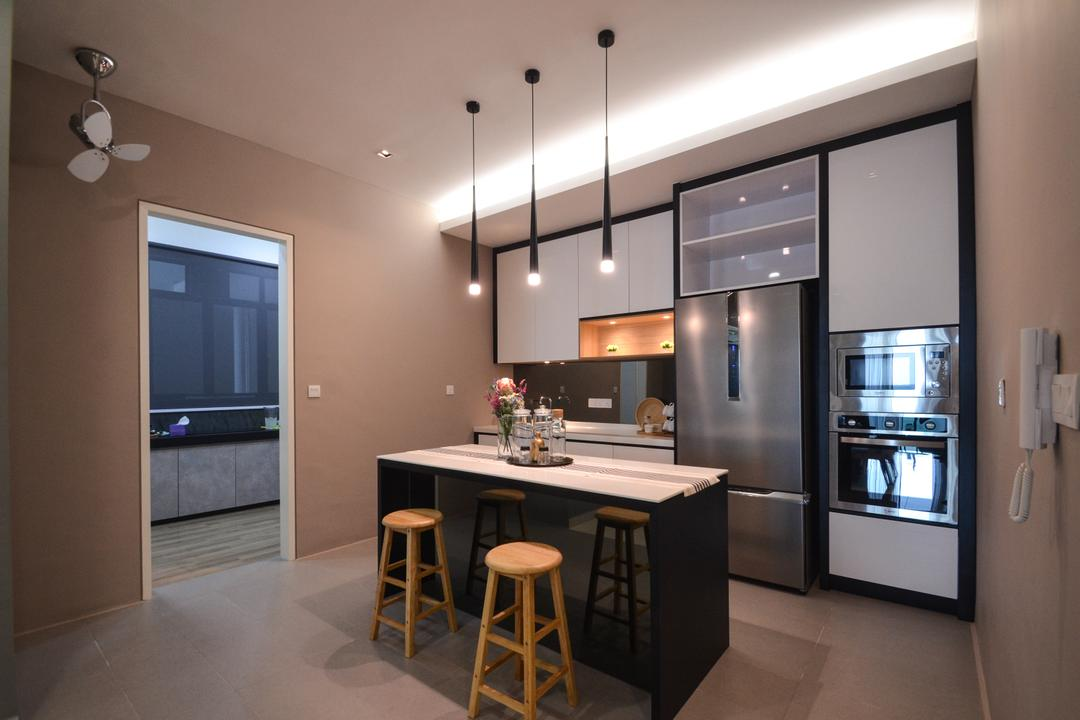 X2 Residence, Puchong, Zyon Studio Sdn. Bhd., Modern, Kitchen, Condo, Kitchen Island, Island, Dry Kitchen, Bar Stool, Furniture, Dining Room, Indoors, Interior Design, Room