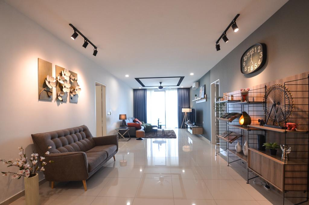Modern, Condo, Living Room, X2 Residence, Puchong, Interior Designer, Zyon Studio Sdn. Bhd., Flora, Jar, Plant, Potted Plant, Pottery, Vase, Couch, Furniture, Dining Room, Indoors, Interior Design, Room, Flooring