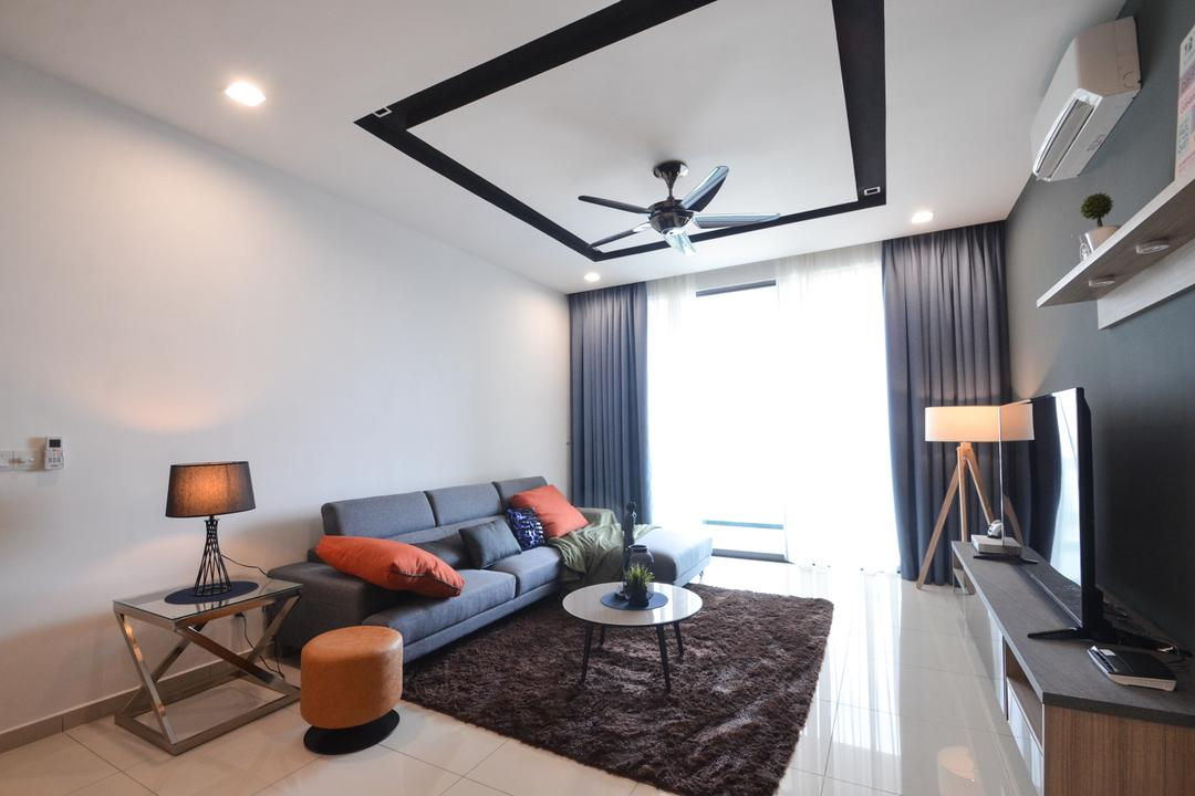 X2 Residence, Puchong, Zyon Studio Sdn. Bhd., Modern, Living Room, Condo, Electronics, Monitor, Screen, Tv, Television, Chair, Furniture, Sink