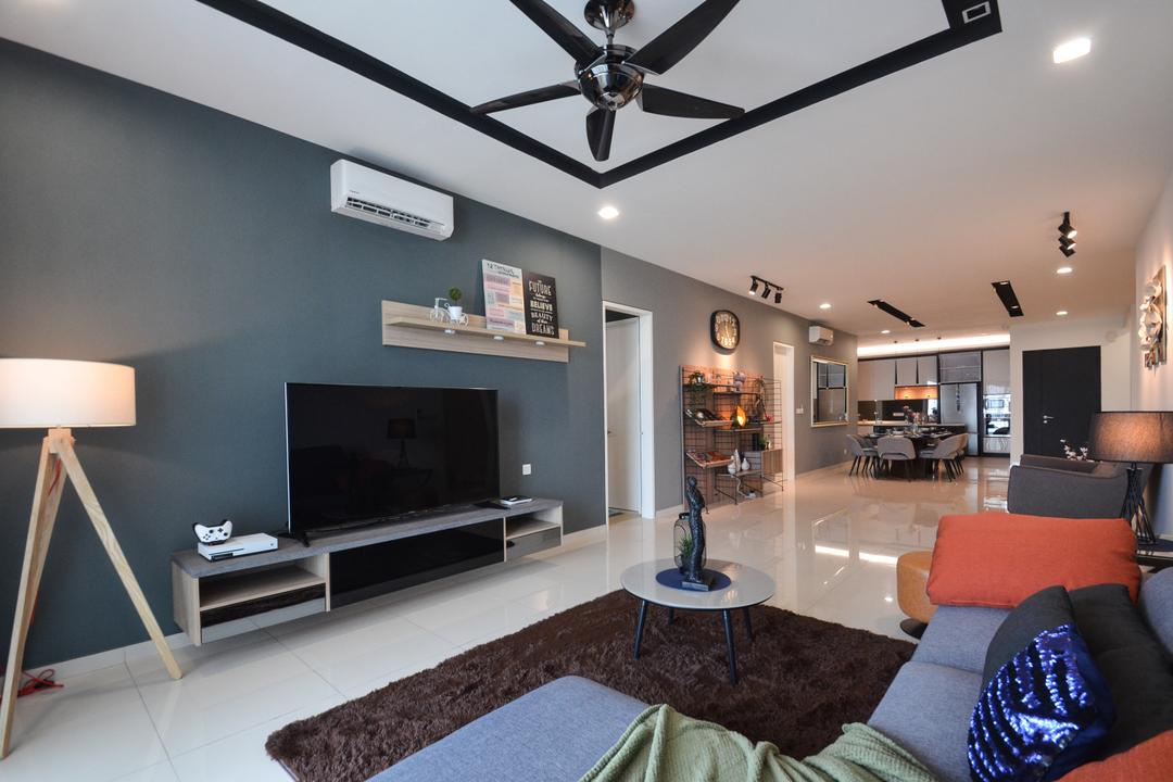 X2 Residence, Puchong, Zyon Studio Sdn. Bhd., Modern, Living Room, Condo, Couch, Furniture, Indoors, Interior Design, Lamp
