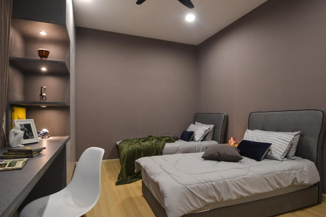 X2 Residence, Puchong, Zyon Studio Sdn. Bhd., Modern, Bedroom, Condo, Couch, Furniture, Lighting, Chair, Corridor