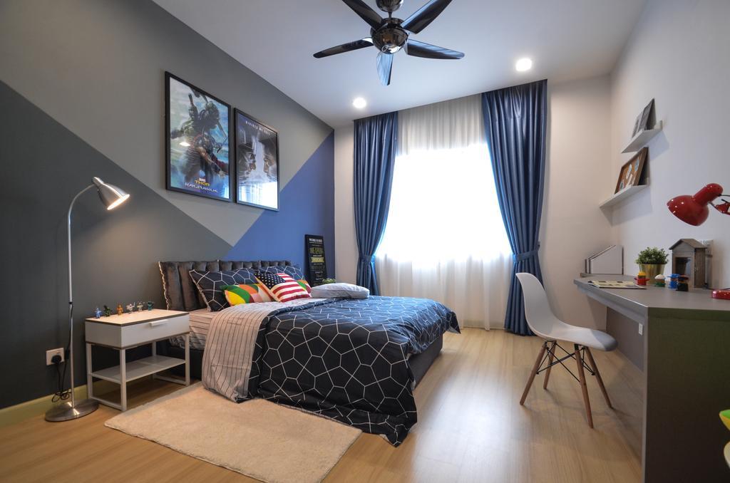Modern, Condo, Bedroom, X2 Residence, Puchong, Interior Designer, Zyon Studio Sdn. Bhd., Shelf, Indoors, Interior Design, Room, Dining Table, Furniture, Table, Apartment, Building, Housing, Loft