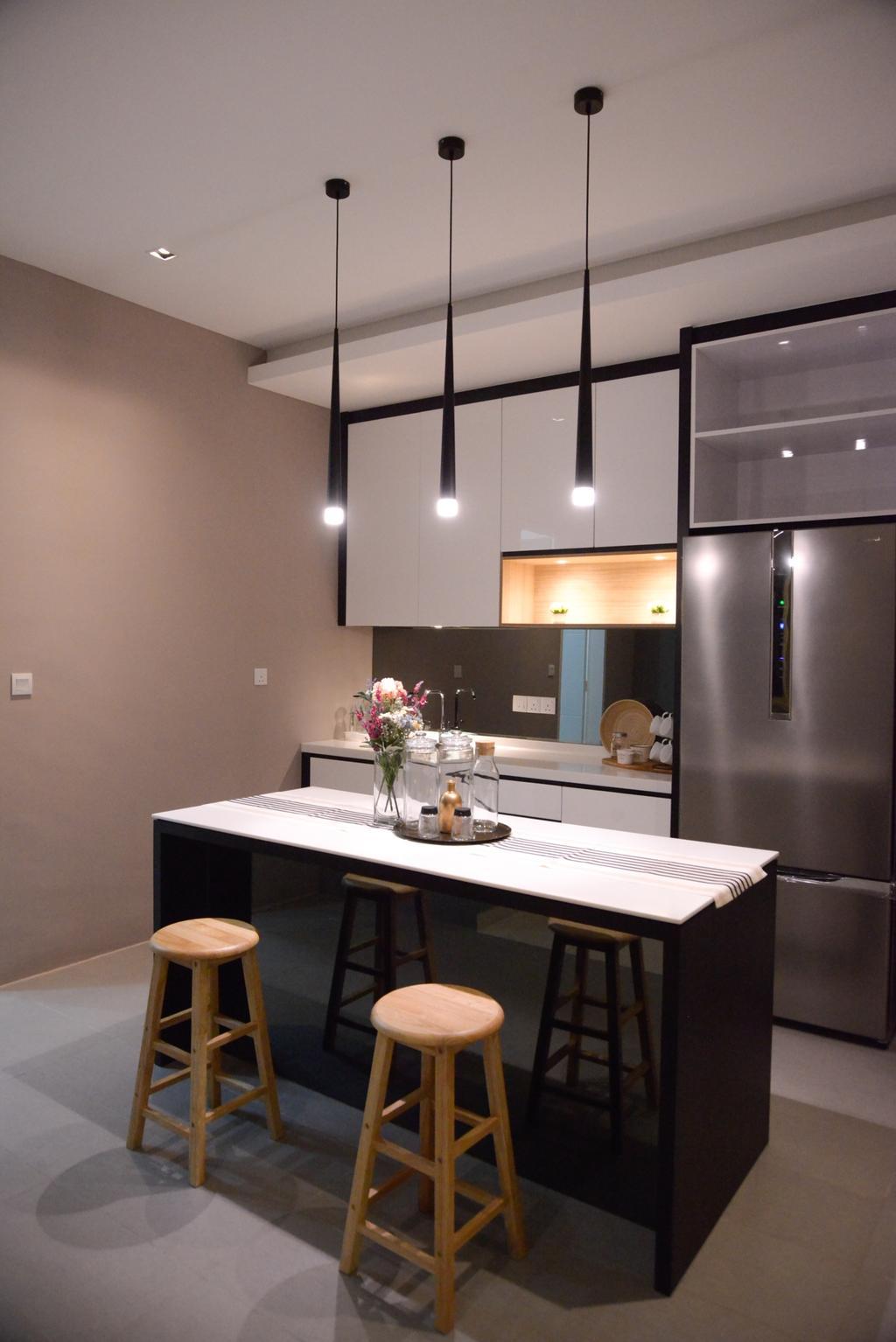Modern, Condo, Kitchen, X2 Residence, Puchong, Interior Designer, Zyon Studio Sdn. Bhd., Dining Room, Indoors, Interior Design, Room, Dining Table, Furniture, Table, Sink, Chair
