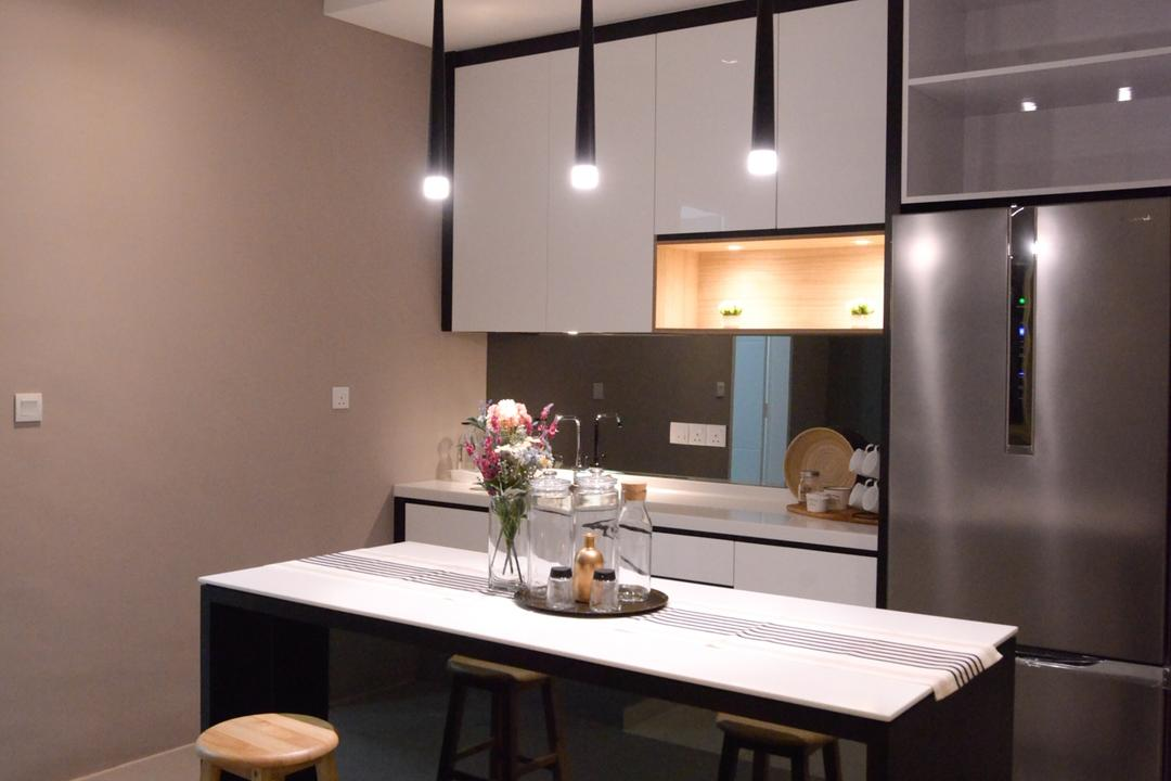 X2 Residence, Puchong, Zyon Studio Sdn. Bhd., Modern, Kitchen, Condo, Dining Room, Indoors, Interior Design, Room, Dining Table, Furniture, Table, Sink, Chair