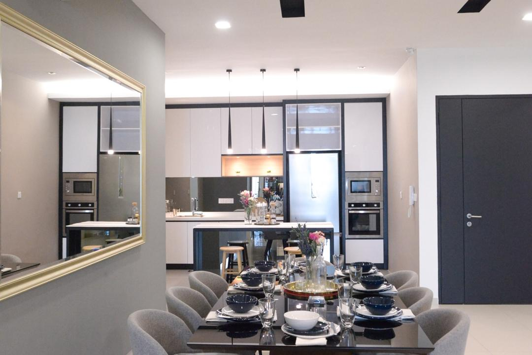 X2 Residence, Puchong, Zyon Studio Sdn. Bhd., Modern, Dining Room, Condo, Couch, Furniture, Appliance, Electrical Device, Oven, Indoors, Interior Design, Room