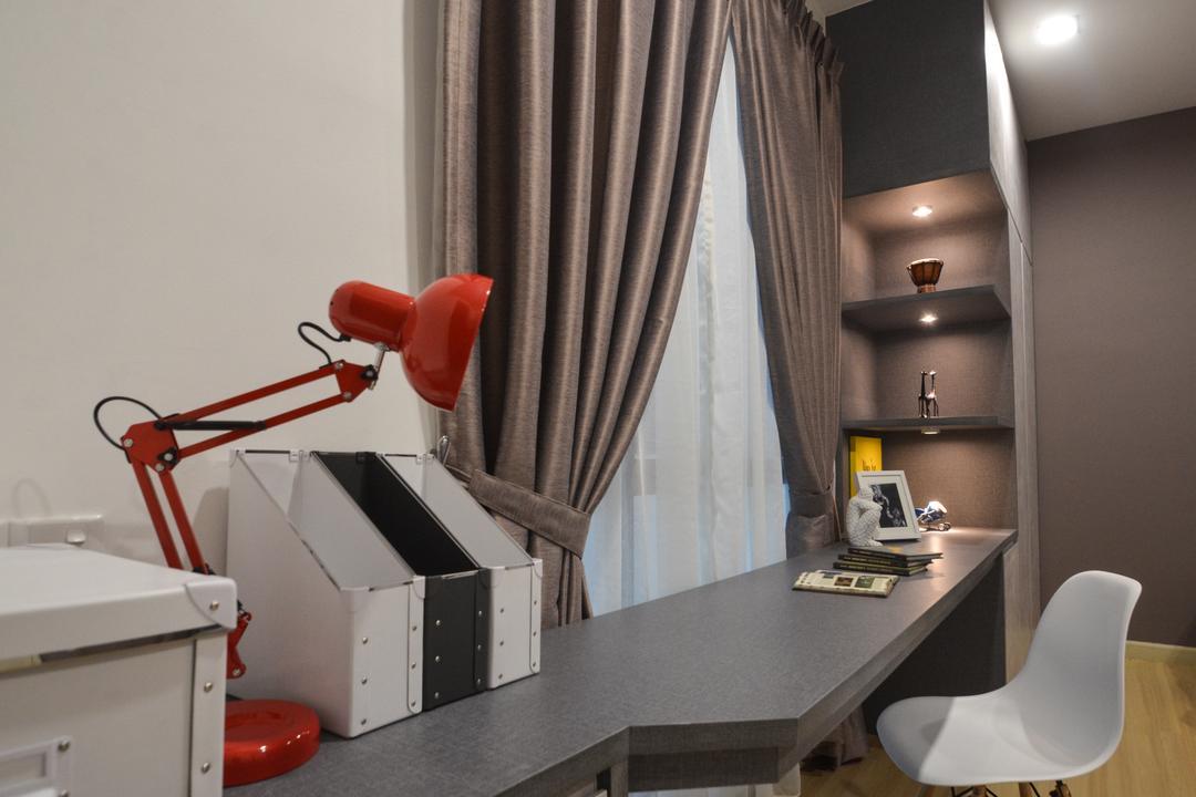 X2 Residence, Puchong, Zyon Studio Sdn. Bhd., Modern, Study, Condo, Indoors, Interior Design, Chair, Furniture, Corridor, Lighting