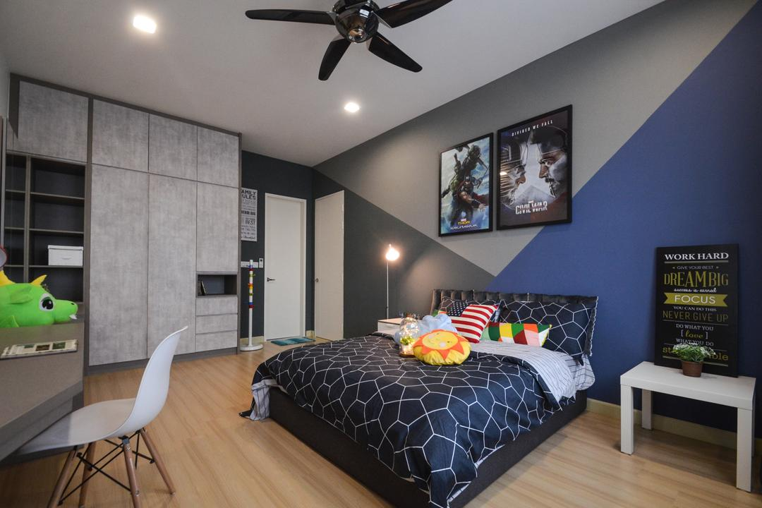 X2 Residence, Puchong, Zyon Studio Sdn. Bhd., Modern, Bedroom, Condo, Chair, Furniture, Indoors, Interior Design, Room, Coffee Table, Table