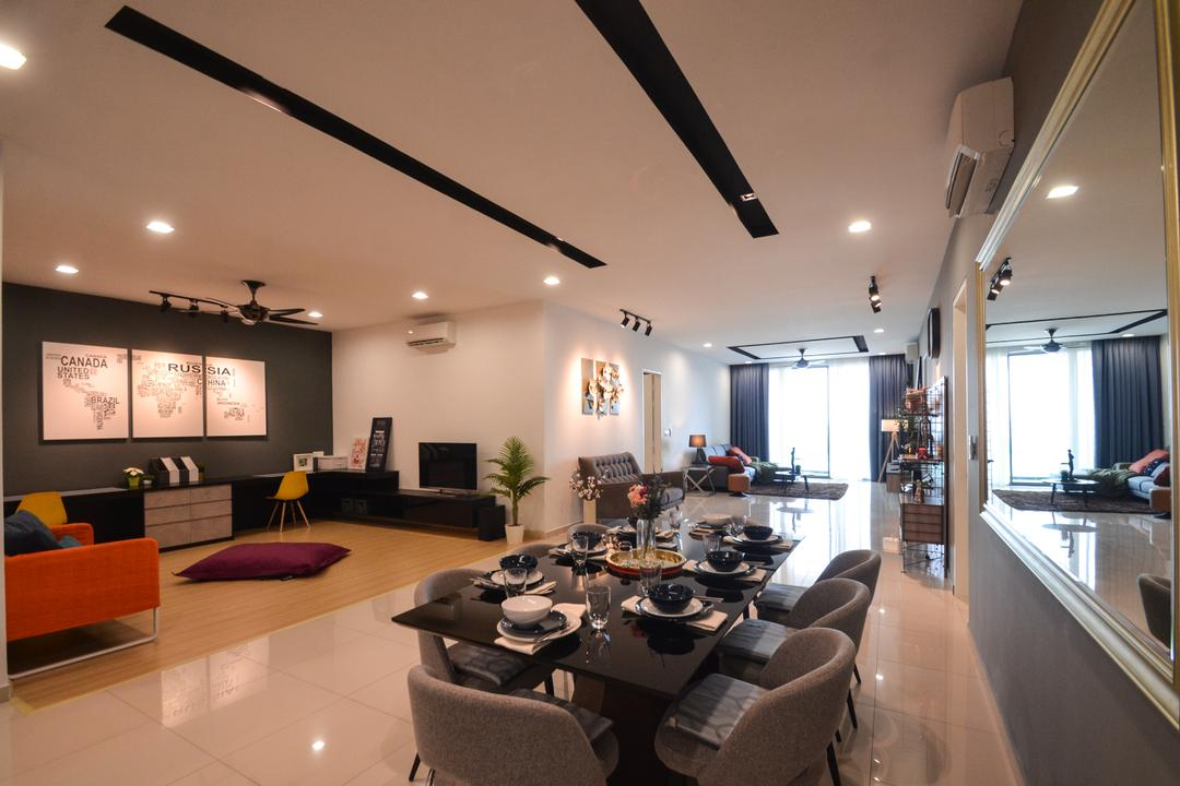 X2 Residence, Puchong, Zyon Studio Sdn. Bhd., Modern, Dining Room, Condo, Dining Table, Furniture, Table, Indoors, Interior Design, Room