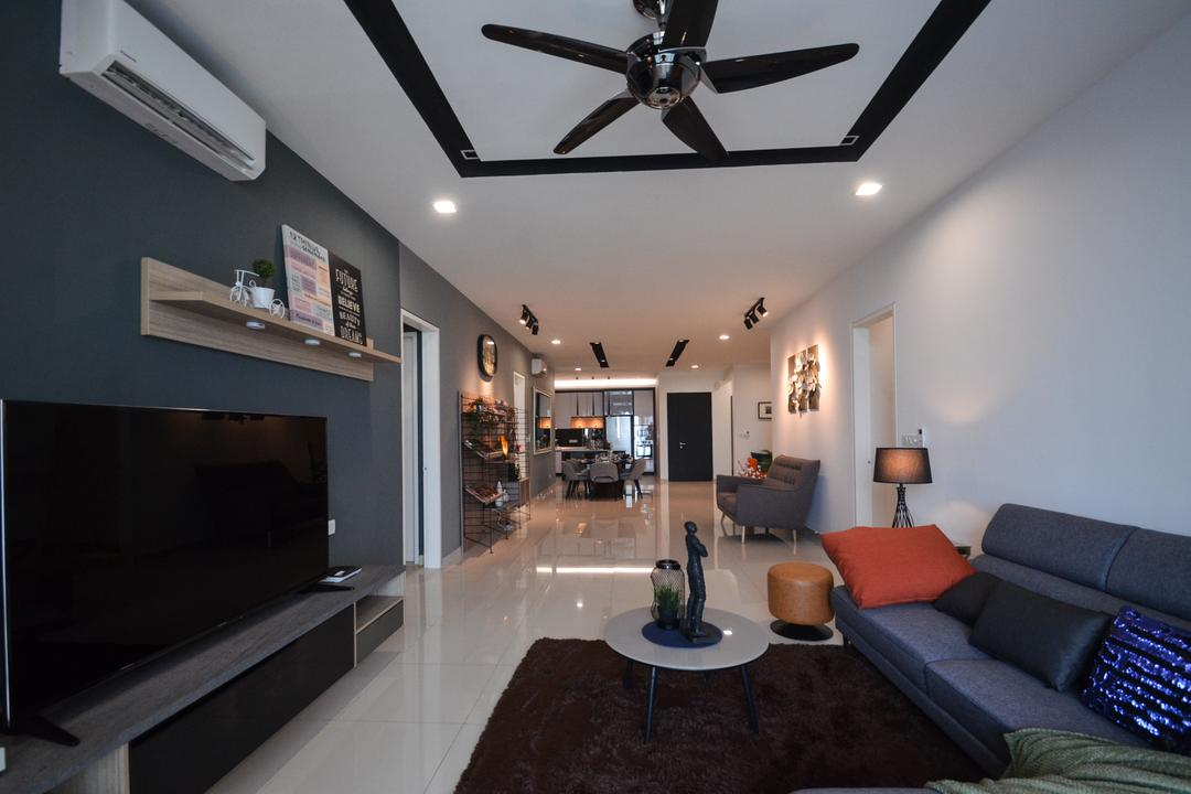 X2 Residence, Puchong, Zyon Studio Sdn. Bhd., Modern, Living Room, Condo, Couch, Furniture, Granite, Indoors, Room