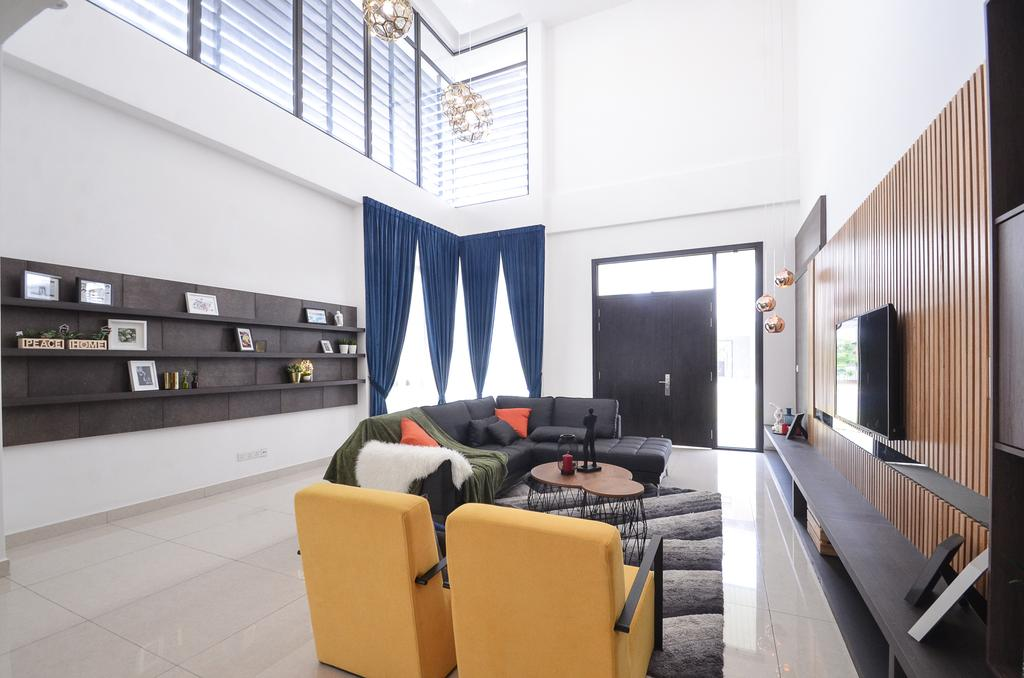 Contemporary, Landed, Living Room, Long Branch Residence, Kota Kemuning, Interior Designer, Zyon Studio Sdn. Bhd., Apartment, Building, Housing, Indoors, Loft, Chair, Furniture, Architecture, Skylight, Window, Couch, Bench
