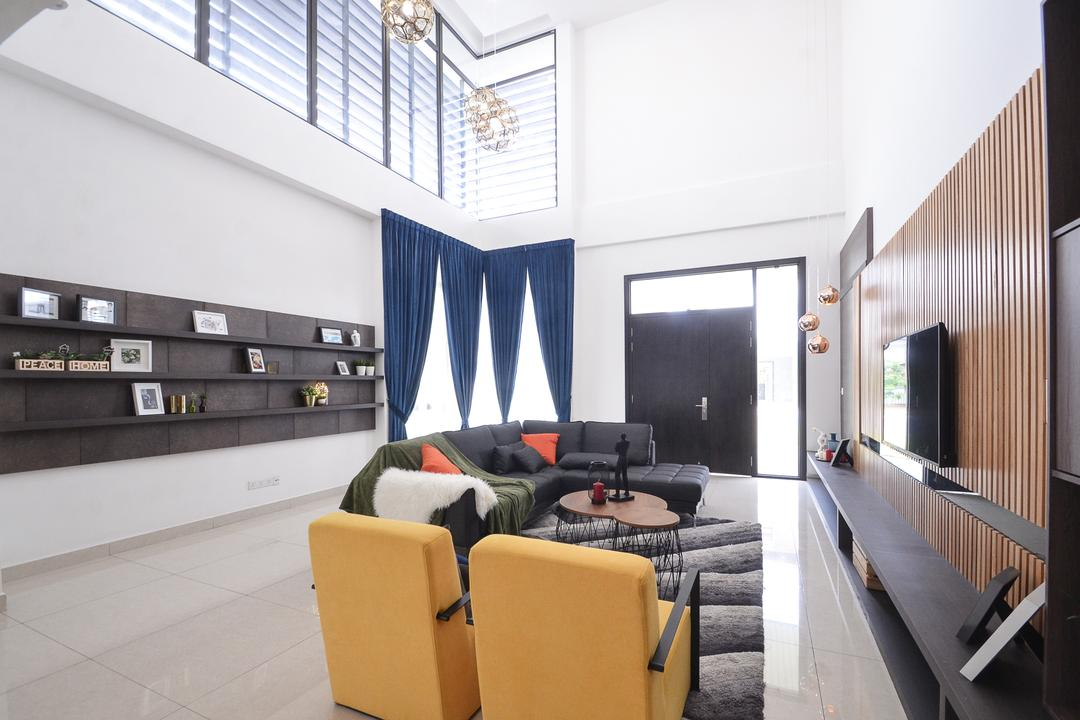 Long Branch Residence, Kota Kemuning, Zyon Studio Sdn. Bhd., Contemporary, Living Room, Landed, Apartment, Building, Housing, Indoors, Loft, Chair, Furniture, Architecture, Skylight, Window, Couch, Bench