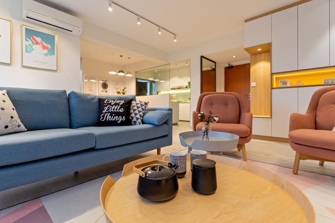 Punggol East, Mr Shopper Studio, Scandinavian, Living Room, HDB, Couch, Furniture, Chair, Dutch Oven, Pot, Indoors, Interior Design, Room