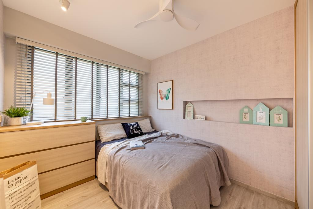 Scandinavian, HDB, Bedroom, Punggol East, Interior Designer, Mr Shopper Studio, Bed, Furniture, Indoors, Interior Design, Room