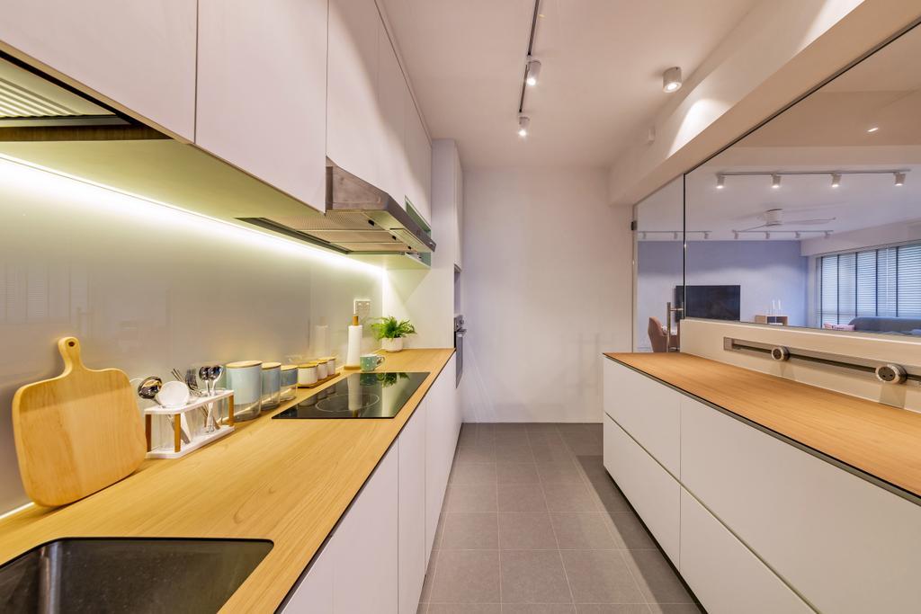 Scandinavian, HDB, Kitchen, Punggol East, Interior Designer, Mr Shopper Studio, Indoors, Interior Design, Room, Building, Housing, Loft