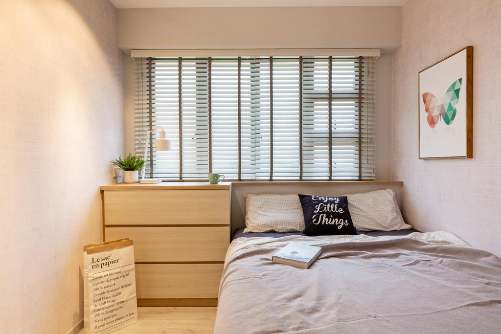 Scandinavian, HDB, Bedroom, Punggol East, Interior Designer, Mr Shopper Studio, Bed, Furniture, Indoors, Interior Design, Room, Paper
