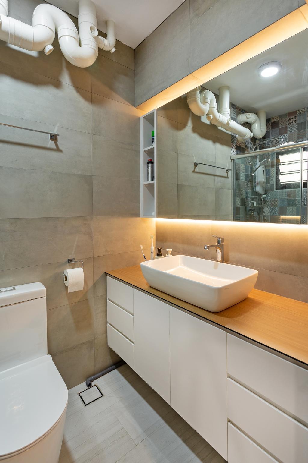 Scandinavian, HDB, Bathroom, Ang Mo Kio Street 31, Interior Designer, The Roomakers, Sink, Paper, Paper Towel, Tissue, Toilet Paper, Towel, Indoors, Interior Design, Room