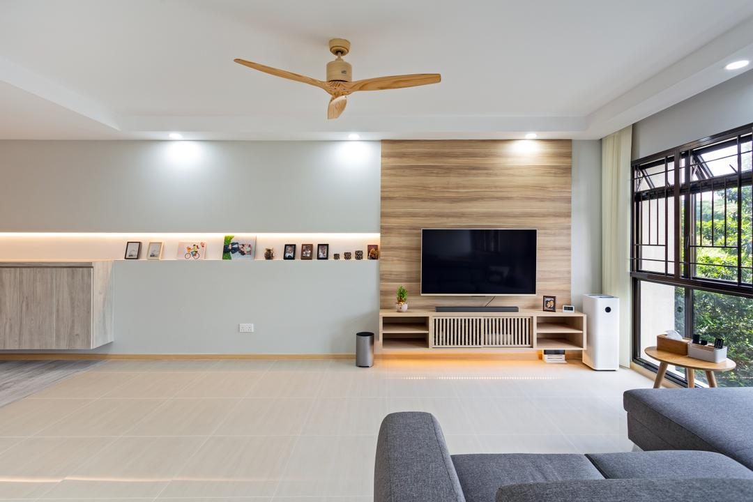 Ang Mo Kio Street 31, The Roomakers, Scandinavian, Living Room, HDB, Couch, Furniture, Electronics, Entertainment Center, Home Theater, Indoors, Interior Design
