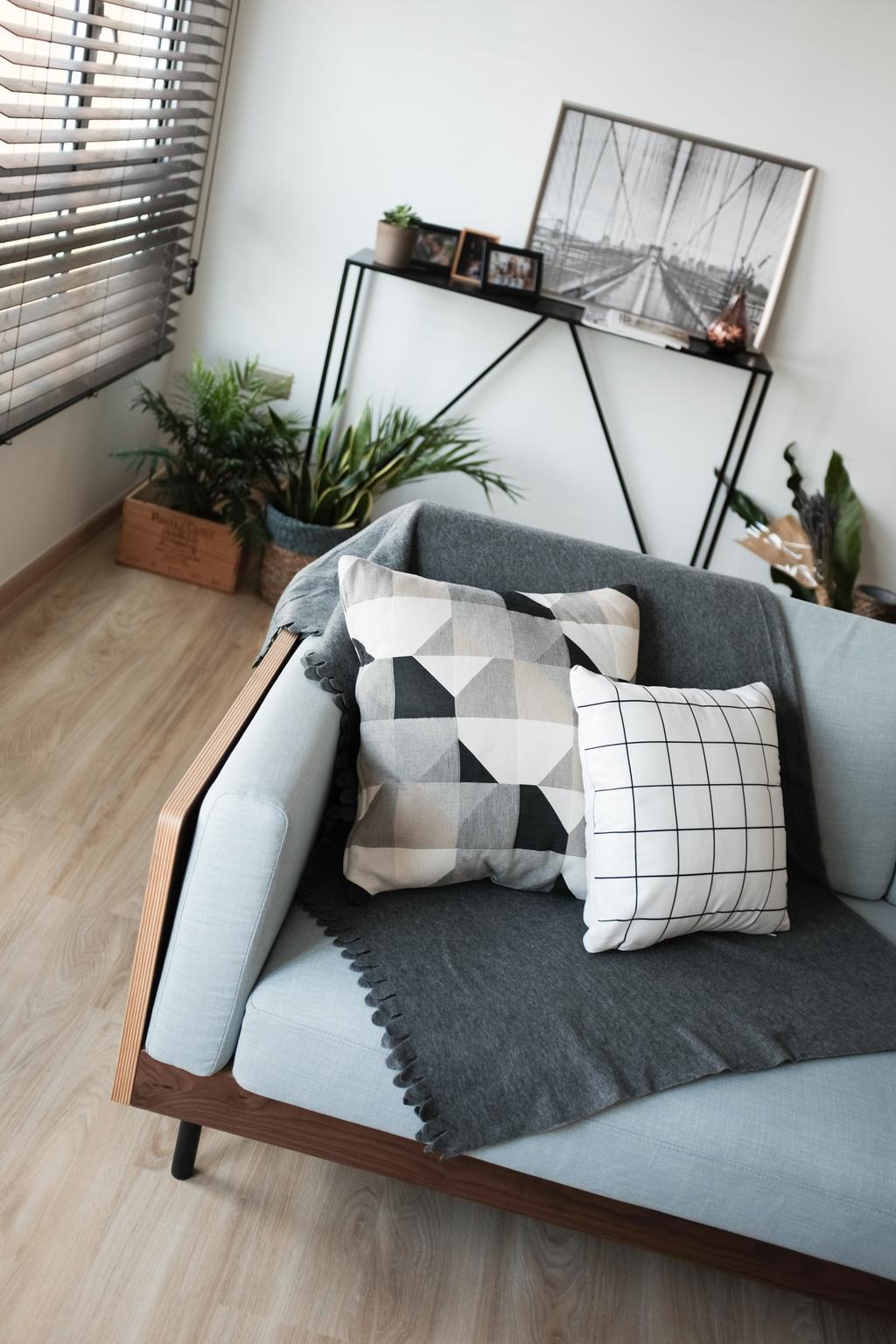 Scandinavian, HDB, Yishun Ring Road, Interior Designer, KDOT, Flora, Jar, Plant, Potted Plant, Pottery, Vase, Couch, Furniture