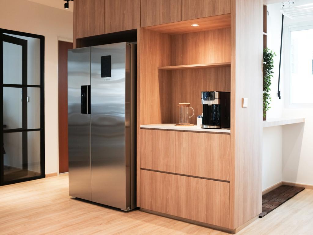 Scandinavian, HDB, Kitchen, Yishun Ring Road, Interior Designer, KDOT, Appliance, Electrical Device, Fridge, Refrigerator
