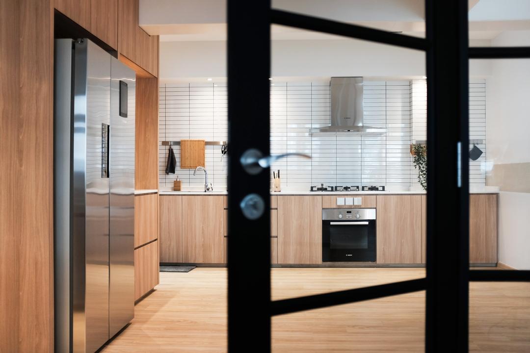 Yishun Ring Road, KDOT, Scandinavian, Kitchen, HDB, Appliance, Electrical Device, Oven, Door, Sliding Door