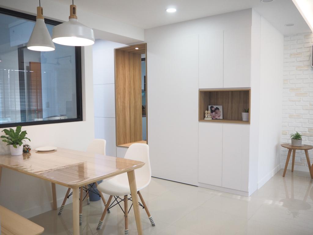 Scandinavian, HDB, Tree Trail @ Woodlands, Interior Designer, Roughsketch, Flora, Jar, Plant, Potted Plant, Pottery, Vase, Dining Table, Furniture, Table, Chair, Dining Room, Indoors, Interior Design, Room