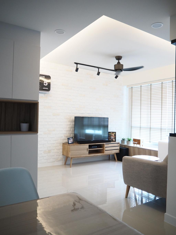 Scandinavian, HDB, Living Room, Tree Trail @ Woodlands, Interior Designer, Roughsketch, Door, Sliding Door, Indoors, Interior Design, Furniture