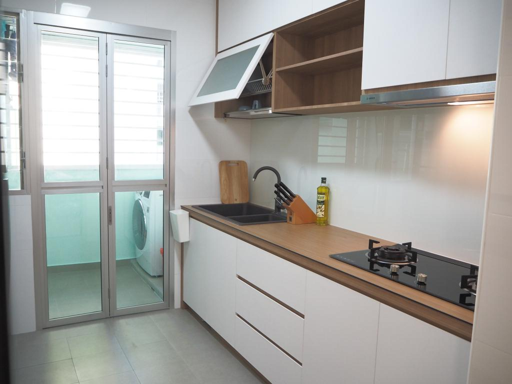 Scandinavian, HDB, Kitchen, Tree Trail @ Woodlands, Interior Designer, Roughsketch, Indoors, Interior Design, Room