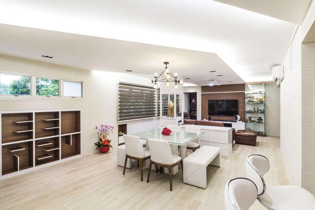 Modern, HDB, Living Room, Choa Chu Kang Street 51, Interior Designer, Azcendant, Dining Room, Indoors, Interior Design, Room, Dining Table, Furniture, Table, Flooring