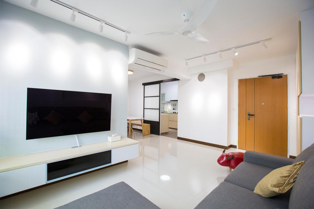 Modern, HDB, Living Room, Jalan Tenteram, Interior Designer, Azcendant, Electronics, Lcd Screen, Monitor, Screen, Indoors, Interior Design