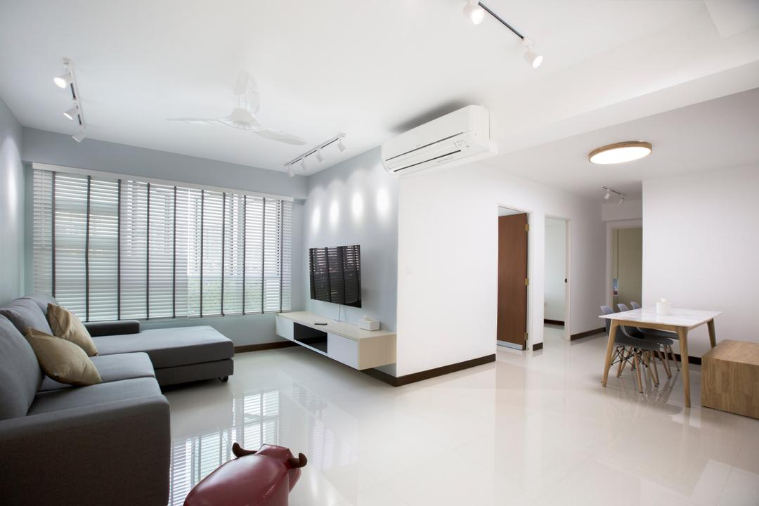 Jalan Tenteram, Azcendant, Modern, Living Room, HDB, Dining Table, Furniture, Table, Couch, Flooring, Indoors, Interior Design