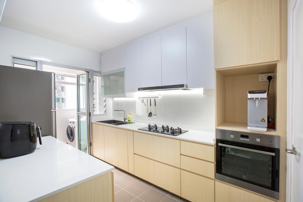 Modern, HDB, Kitchen, Jalan Tenteram, Interior Designer, Azcendant, Indoors, Interior Design, Room, Appliance, Electrical Device, Oven