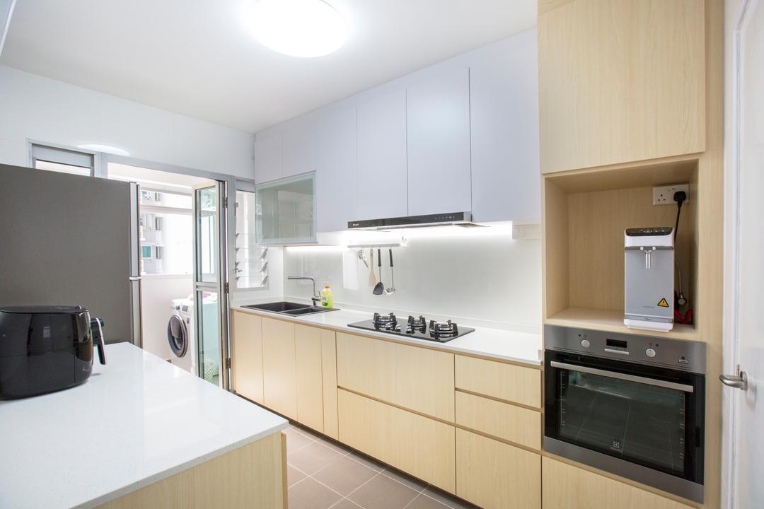 Jalan Tenteram, Azcendant, Modern, Kitchen, HDB, Indoors, Interior Design, Room, Appliance, Electrical Device, Oven