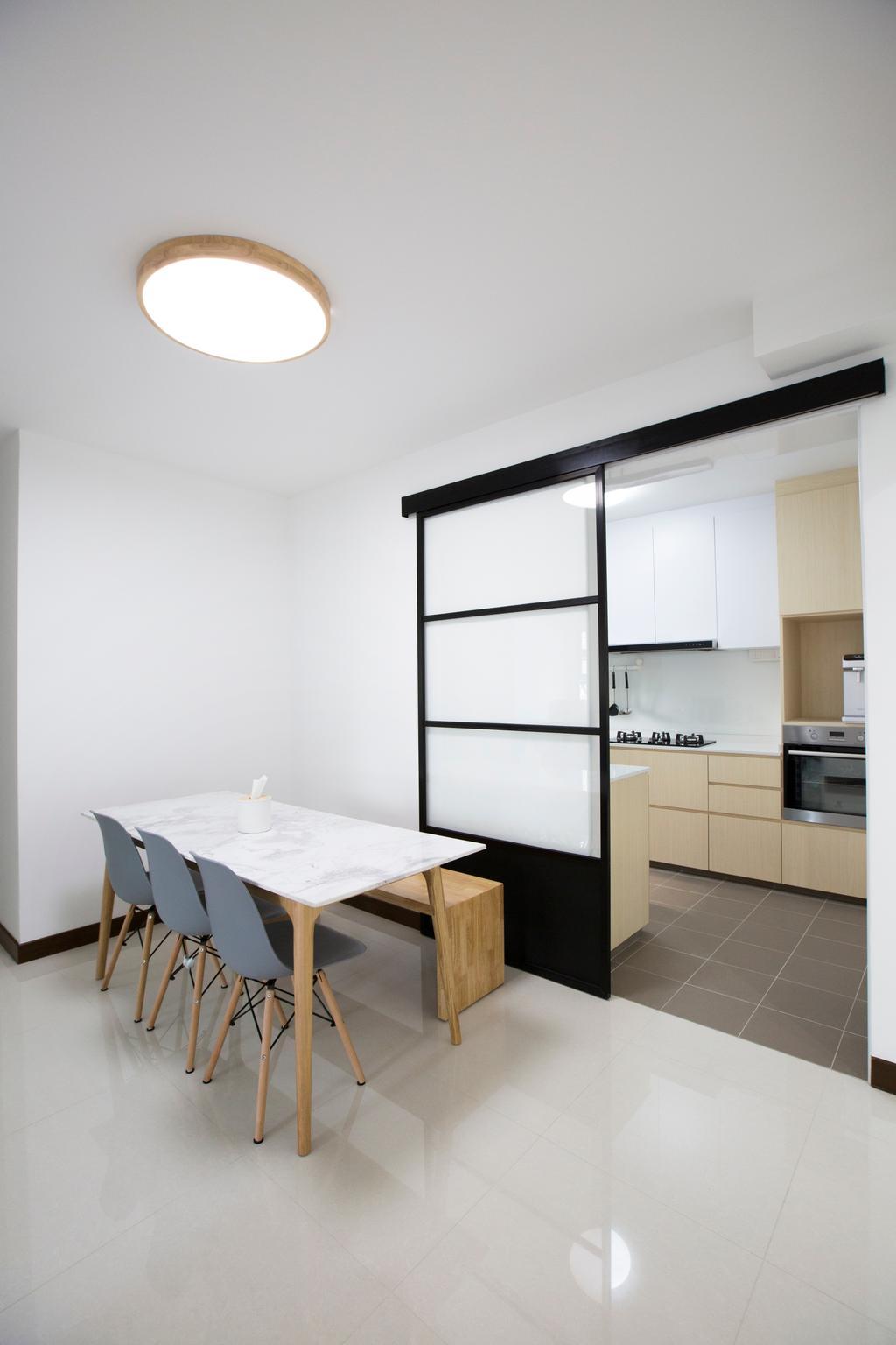 Modern, HDB, Dining Room, Jalan Tenteram, Interior Designer, Azcendant, Appliance, Electrical Device, Oven, Door, Sliding Door, Chair, Furniture, Dining Table, Table, White Board