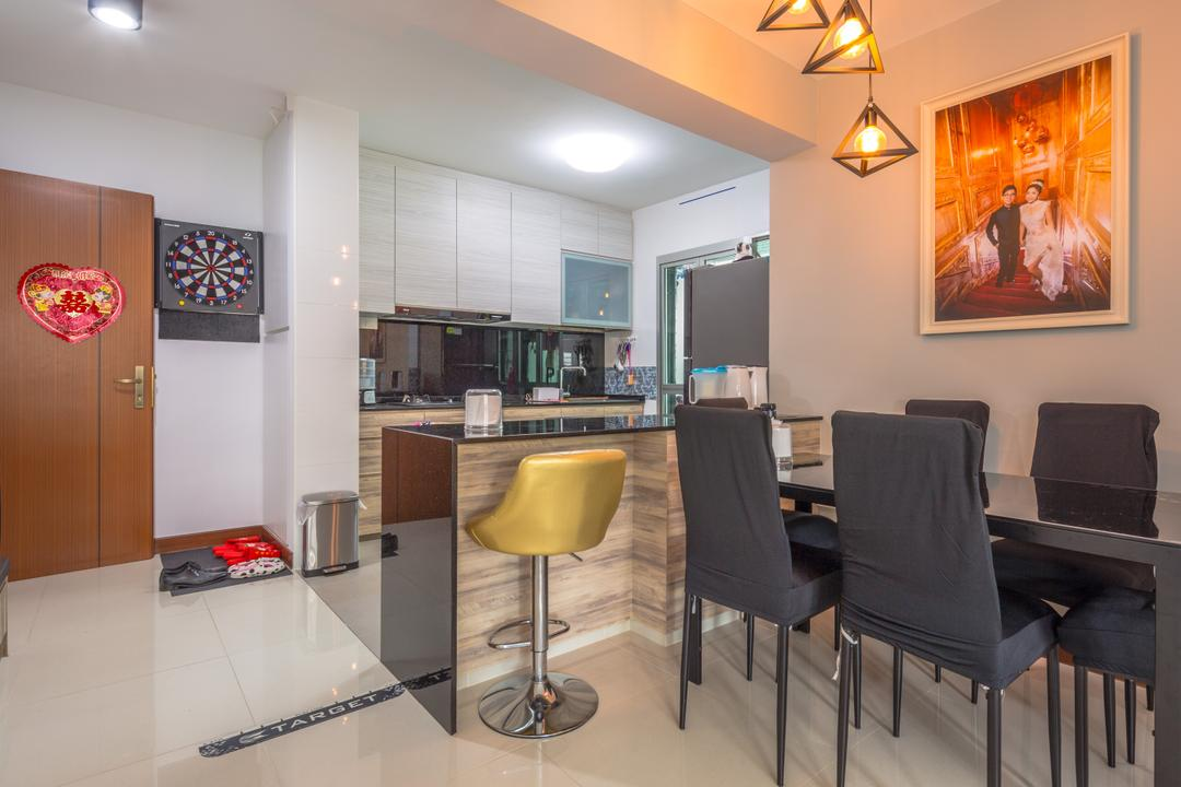 Woodlands Drive, Azcendant, Transitional, HDB, Couch, Furniture, Chair, Bar Stool, Dining Table, Table, Dining Room, Indoors, Interior Design, Room, Art