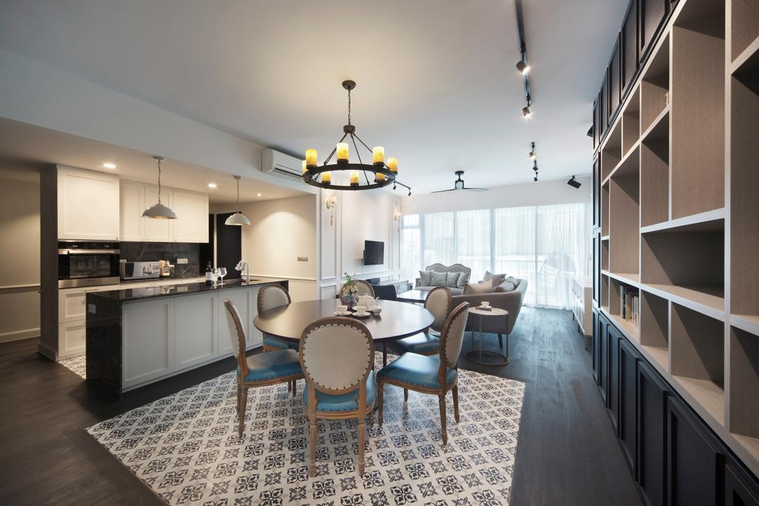 Grand Duchess, Fuse Concept, Contemporary, Kitchen, Condo, Light Fixture, Dining Room, Indoors, Interior Design, Room, Chair, Furniture, Dining Table, Table, Bookcase, Flooring