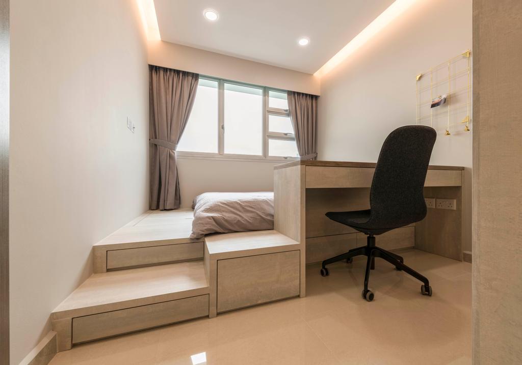 Modern, HDB, Bedroom, Boon Lay Avenue, Interior Designer, DS 2000 Interior & Design, Chair, Furniture, Bed, Indoors, Interior Design