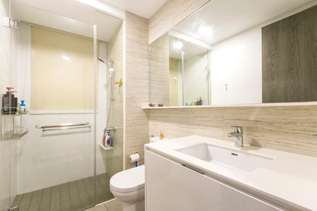 Lush Acres, 9's Interior, Modern, Bathroom, Condo, Toilet, Sink, Indoors, Interior Design, Room