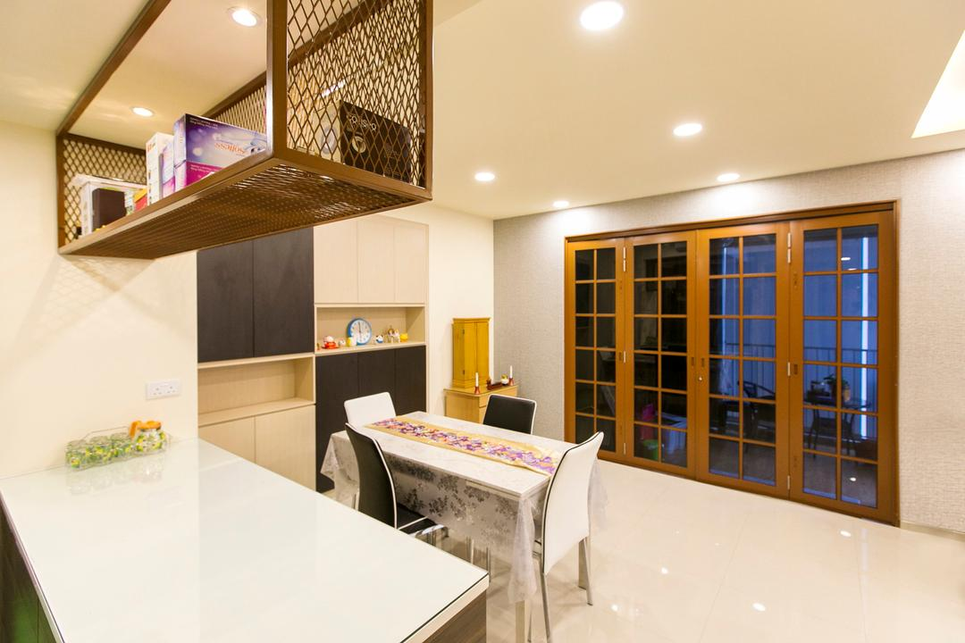 Lush Acres, 9's Interior, Modern, Dining Room, Condo, Banister, Handrail, Staircase, Dining Table, Furniture, Table