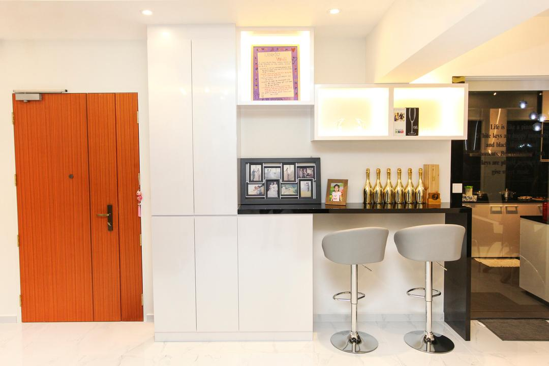 Yishun Street 51, 9's Interior, Modern, HDB, Art, Art Gallery, Bar Stool, Furniture, Appliance, Electrical Device, Oven, Indoors, Interior Design, Kitchen, Room